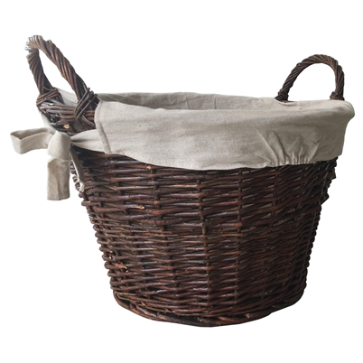 Round Willow Basket With Removable Lining