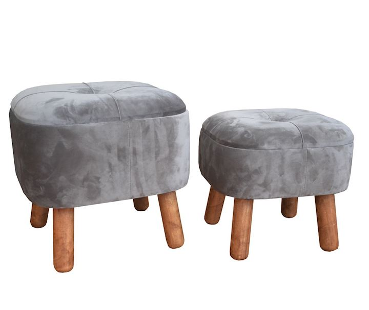 SET OF 2 STORAGE STOOLS